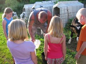 Feeding calves at my brother's farm.