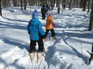 Snowshoe trip with fourth-graders. Shortly after this was taken there was a ten-kid pile-up. They fell like ten pins.