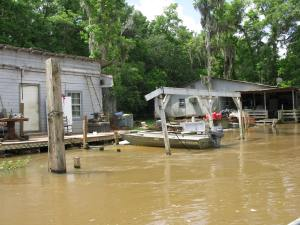 A swamp village. Twelve people were killed during the hurricane from the village.