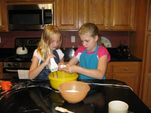 Bonding over making chocolate chip cookies.